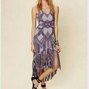 Free People Dress Fringe Hem Aztec Pattern